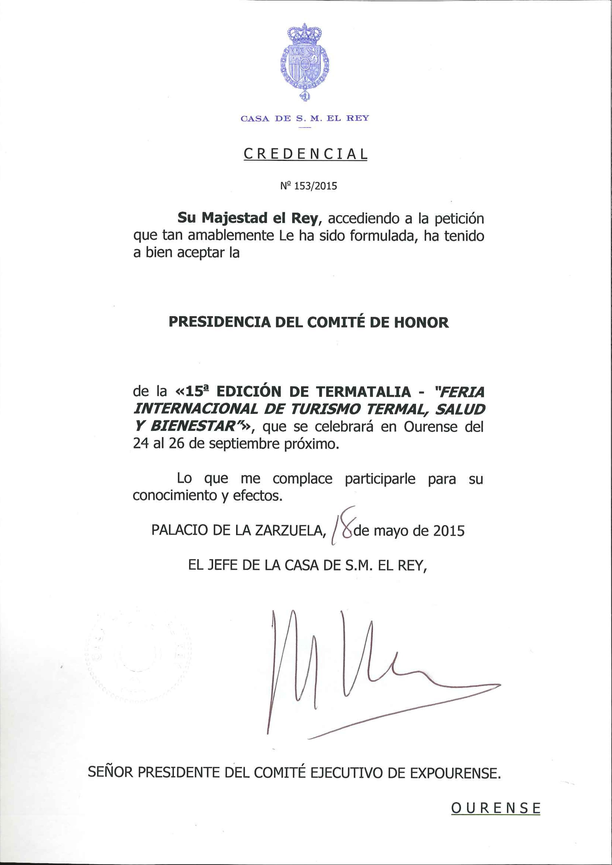El Rey de España presidirá el Comité de Honor de Termatalia 2015