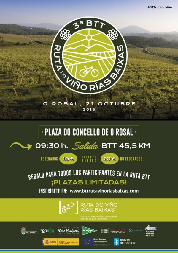[:es]La BTT Ruta do Viño Rías Baixas se celebrará en O Rosal el domingo 21 de octubreA BTT Ruta do Viño Rías Baixas celebrarase no Rosal o domingo 21 de outubroThe Ruta do Viño Rías Baixas MTB will be held in O Rosal on Sunday 21 October