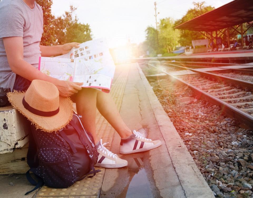 viajero, tren, turista